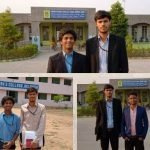 Collage of three images. Image one: Two young men wearing black coats are standing in front of a building. Image Two: Two young men in shirts are standing in front of a building. The board on the building says - Women's college. Image Three: Two young men are standing in front of a building. One is wearing a black coat and the other a blue coat.